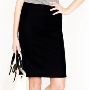 NWT J. Crew Black Wool Blend Pencil Skirt